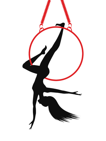 Aerial athletics - woman on hoop - isolated on white background - art vector. Sports logo