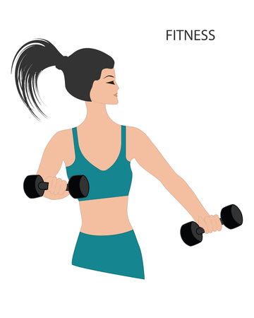 Girl with dumbbells - isolated on white background - vector Stock Vector - 108053470
