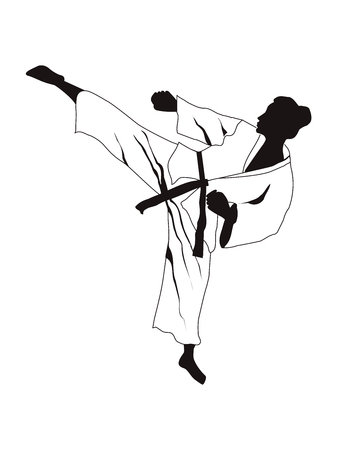 Karate, judo - silhouette of a woman in a kimono in a combat stance - isolated on white background - flat style - vector Illustration
