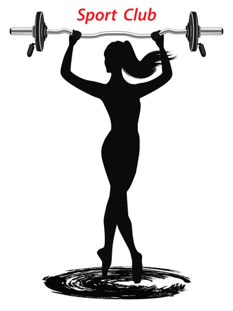 Silhouette of an elegant woman with barbell - flat style - isolated on white background - art vector
