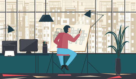 Architect, designer, sits in a room behind a drawing board - large window overlooking the city building - vector art illustration.