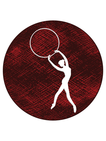 Sport. Silhouette of a girl with a hoop - abstract grunge black-red circle - isolated on white background - flat style - vector Vektorové ilustrace