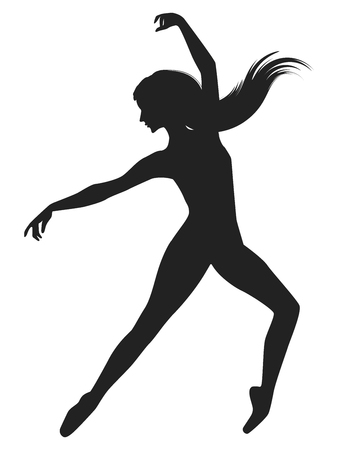Silhouette of dancer with long hair - isolated on white background - vector art.
