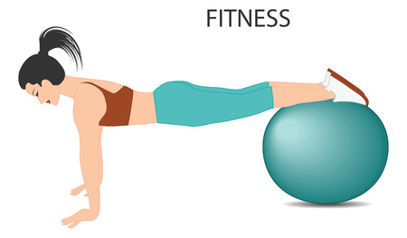 Fitness with ball - girl shows exercise - isolated on white background - flat style - art vector