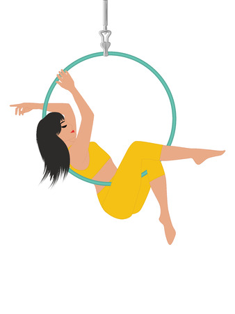 Aerial yoga - Woman with long hair doing an exercise on a hoop - isolated on white background - art vector Illustration