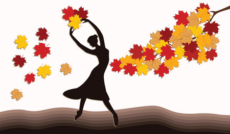 A woman is throwing bright autumn leaves - a branch of a tree - an art vector. Ilustração