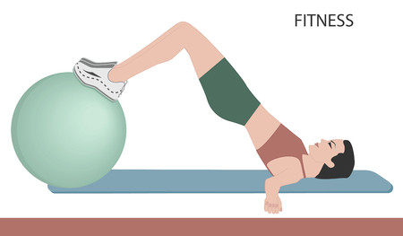 Fitness ball - exercise for the abdominal muscles - isolated on white background - flat style - vector art