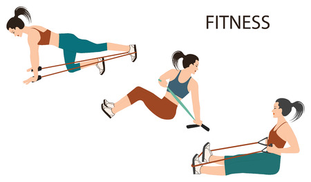 Fitness - set of three exercises with a rubber band - isolated on a white background - flat style - art vector