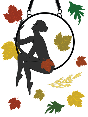 Yoga - woman sitting on a hoop - autumn leaves - flat style - isolated on a white background - vector.