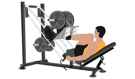 entrenamiento de la fuerza - hombre sostiene ejercicios de músculos de las piernas - aislado en el fondo blanco - estilo plano - vector Ilustración de vector