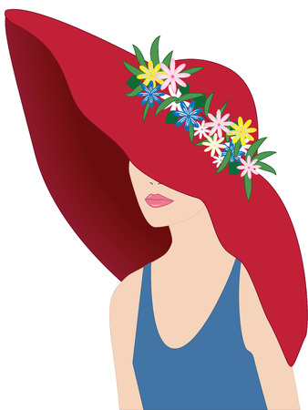 Woman in a red hat decorated with flowers - flat style - isolated on white background - vector Illustration