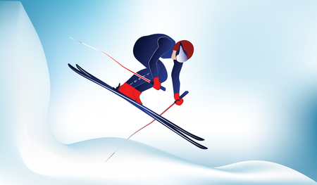 Skier jumping from a snowy mountain - light abstract winter background - vector.
