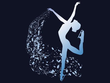Patinage sur glace - patineuse artistique avec un beau voile dans ses mains - fond bleu foncé - vecteur Vecteurs