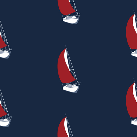 Pattern - Sailing boat with a scarlet sail - dark blue background - vector
