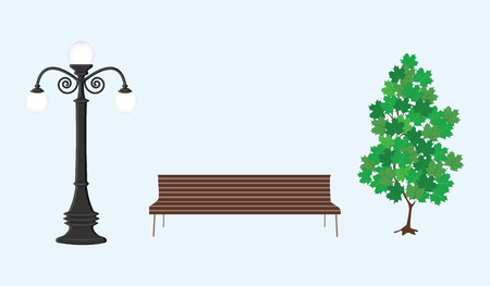 Street lamp, tree with green leaves, bench - light background- flat style - vector
