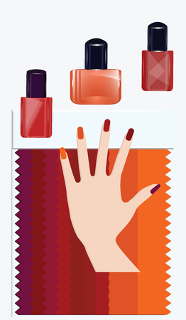 Color sample pallets of red shades - bottles of nail polish - female hand - isolated on white background - vector