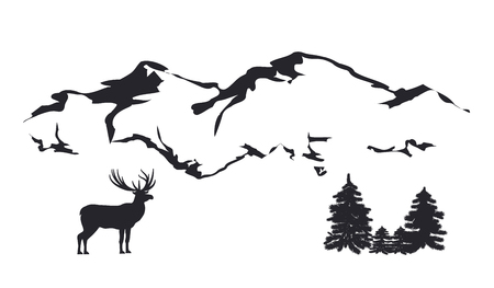Sketch - Mountain landscape - reindeer, fir forest - isolated on white background - vector 矢量图像