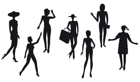 Silhouettes of women, modern - detailed, isolated on white background - vector Illustration