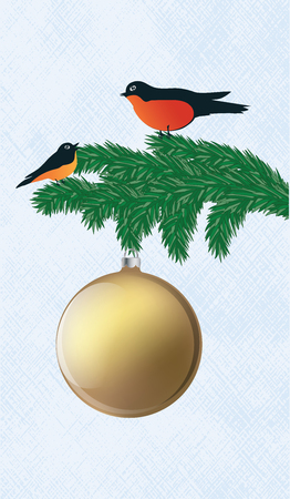 Bullfinches are sitting on a spruce branch, a yellow Christmas ball - an abstract light background - art vector illustration