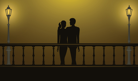 Date at night on the bridge - young boy and girl - illustration, vector Illustration