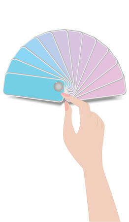 Female hand holds fan pattern of spring palette - soft pink and blue colors - isolated on white background - vector