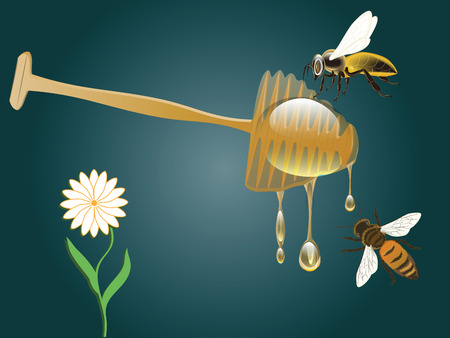 Honey spoon - flowing drops, bees - vector. Natural product concept