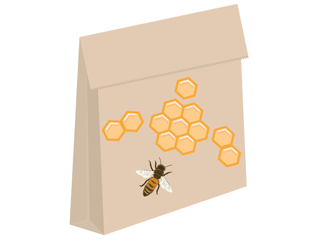 Paper package - Honey bee and honeycombs - isolated on white background - vector