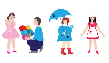 Images of children - girl with umbrella, little cook, elder brother - detailed, isolated on white background - vector