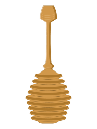 Honey wooden ladle - isolated on white background - flat style - vector. Natural Product Concept Illusztráció