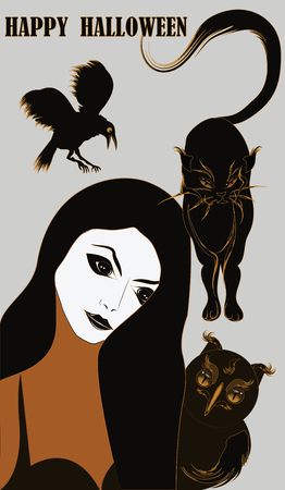 Happy Halloween - woman with a pale face, cunning owl, impudent cat, evil crow - light background - vector Иллюстрация