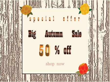 Abstract background - Big autumn sale - flowers - flat style - vector Illustration