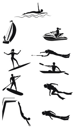 Set of water sports - silhouettes of men and women - detailed - vector