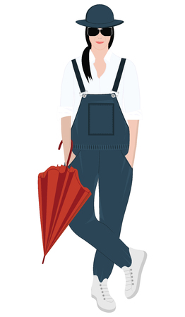 Girl in overalls, in a hat, with an umbrella - isolated on white background - vector.