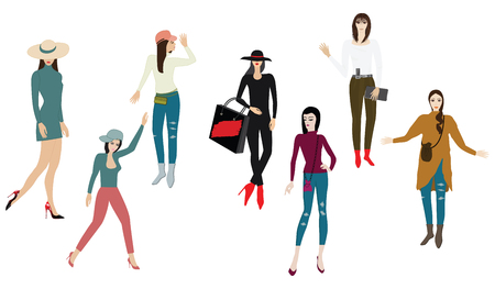 Images of women, modern - detailed, isolated on white background - vector Illustration