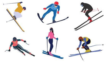 Skiers, a set of athletes in colorful suits - isolated on white background - flat style - vector