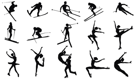 Set of fifteen skiers and skater silhouettes - detailed - vector. Winter sports  イラスト・ベクター素材