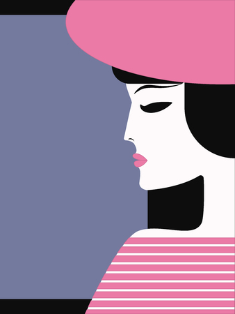 Woman, face in profile, in pink hat - flat style, minimalism - isolated on dark background - vector Illustration