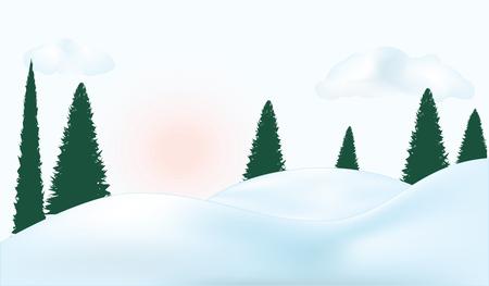Winter landscape - snowdrifts, fir forest, clouds, sun - light blue background - art vector illustration
