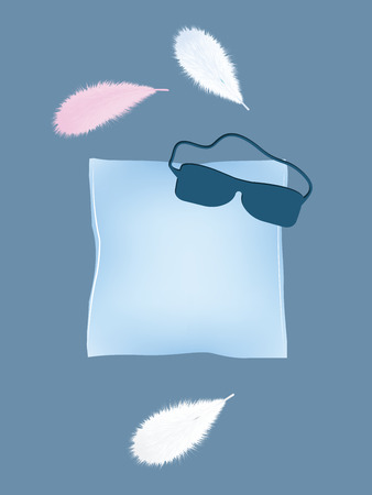 Pillow blue - sleeping mask, realistic bird feather - vector. Linens