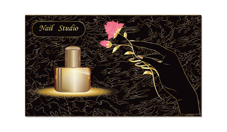 Female elegant hand, rose, bottle - on black and gold abstract background - vector. Business Card for Beauty Salon