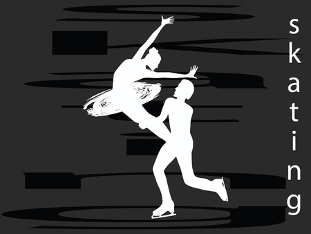 Skaters - man and woman - flat style - abstract background - vector Stock Illustratie