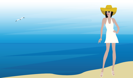 Vacation at sea - girl in a hat, sun glasses, summer sundress - illustration vector  イラスト・ベクター素材