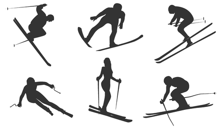 Sketch - six skiers - isolated on white background - flat style - vector