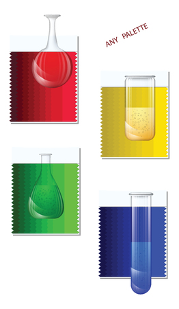 Laboratory glass transparent flasks - color palette samples - isolated on white background - vector.