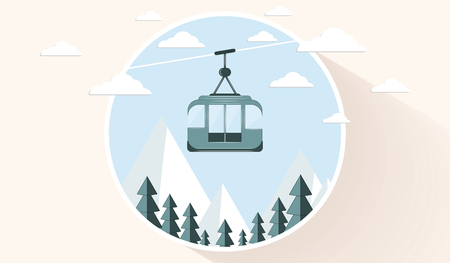 Icon - Ski cable car - mountain landscape - flat style - light background - vector
