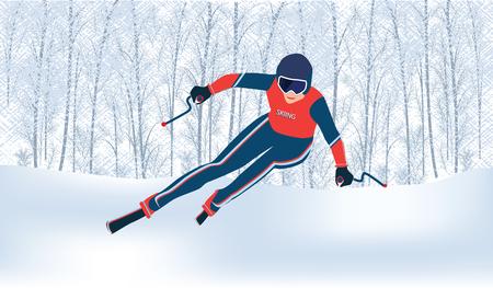 Esquiador - bosque nevado de invierno abstracto con ventisqueros - vector.