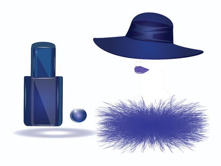 Female face with hat, fur collar and bottle of blue nail polish - isolated on white background - vector