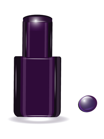 Original bottle of violet nail polish and drop - isolated on white background - vector