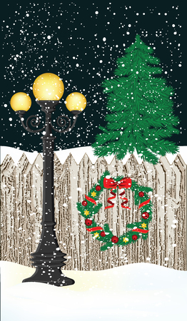 Winter, night, lamppost, fence, Christmas wreath, tree, snow, snowdrifts - vector illustration Illustration