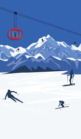 Mountain landscape - skiers - cable car, funicular - - flat style - vector illustration